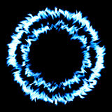 Blue fire in circle / black background. Stock Photography