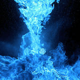 Blue Fire flames, isolated on black background Royalty Free Stock Images