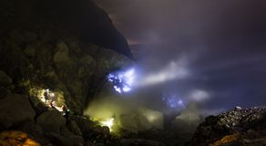 Blue fire a flow of liquid sulfur. Which has caught fire and burns with an blue flame. Cater of the Kawah Ijen volcano, Java, Indonesia Royalty Free Stock Image