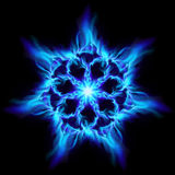 Blue fire flower. Illustration on black background for design Stock Images