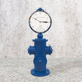 Blue fire hydrant with clock. 3D blue fire hydrant with clock on footpath Stock Photography
