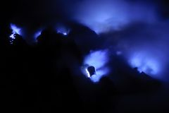 Blue fire in Ijen volcano, travel destination in Indonesia Stock Images