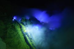 Blue fire in Ijen volcano, travel destination in Indonesia Royalty Free Stock Image