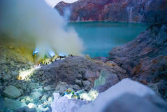 Blue fire at kawah ijen crater, Indonesia Royalty Free Stock Photos