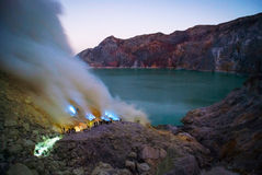 Blue fire at kawah ijen crater, Indonesia Stock Photo