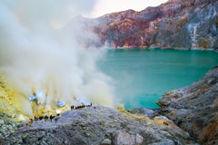 Blue fire at kawah ijen crater, Indonesia Royalty Free Stock Images