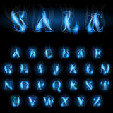 Blue fire letters sale. Sale blue fire latin alphabet letters Royalty Free Stock Image
