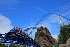 Blue Fire roller coaster high-speed ride Royalty Free Stock Photo