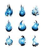 Blue Fire Symbol Icon Set. Vector Illustration Royalty Free Stock Images