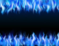 Blue Fire Tileable Borders. Blue fire tileable realistic borders on black background isolated vector illustration Stock Photo