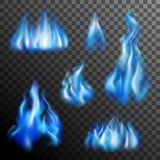 Blue Fire Transparent Set. Realistic burning blue fire transparent set isolated vector illustration Royalty Free Stock Photos
