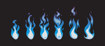 Blue fire vector animation sprites, flames Royalty Free Stock Photos