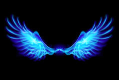 Blue fire wings. Illustration of blue fire wings on balck background Stock Images