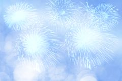 Blue firework and blurred bokeh light with copy space in Christmas and New Year. Abstract background holiday concept. Blue firework and blurred bokeh light with vector illustration