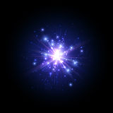 Blue firework flash. Royalty Free Stock Image