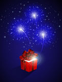 Blue firework and gift box. Blue shiny fireworks and gift box, illustration Royalty Free Stock Photos