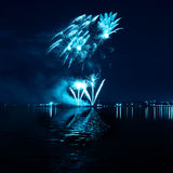 Blue firework in a night sky Royalty Free Stock Photography