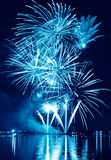 Blue firework in a night sky Stock Image