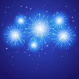 Blue firework. Set of sparkle firework on blue background, illustration Stock Photography