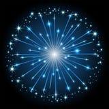 Blue firework. Shiny blue firework with stars on dark background, illustration Royalty Free Stock Photo