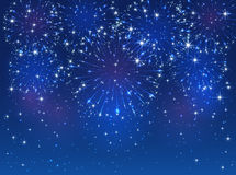 Blue firework on sky background. Blue starry fireworks on sky background, illustration Stock Image