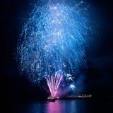 Blue fireworks Stock Image