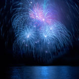 Blue fireworks Stock Images
