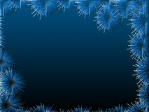 Blue fireworks on blue background. Night sky, blank for a postcard or banner. Blue fireworks on blue background, vector illustration. Night sky, blank for a Stock Photos