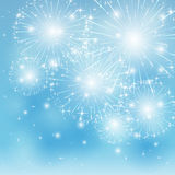 Blue fireworks background. Set of sparkle firework on blue background, illustration Royalty Free Stock Images