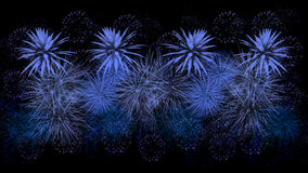 Blue fireworks on black background Royalty Free Stock Photos