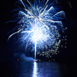 Blue fireworks Stock Images