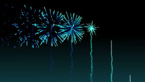Blue fireworks exploding on black background stock video footage