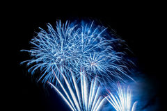 Blue Fireworks Explosion Royalty Free Stock Photography