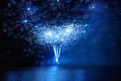 Blue fireworks Stock Photos