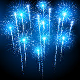 Blue fireworks. Holiday fireworks on dark background. Vector illustration Stock Photo