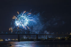 Blue Fireworks in Montreal Stock Photos