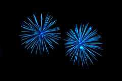 Blue fireworks with native space. Blue fireworks with copy space, native space, black background Royalty Free Stock Photo