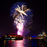 Blue fireworks over Cologne. With the famous cathedral, Germany Stock Photo