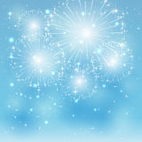 Blue fireworks. Set of sparkle fireworks on blue background, illustration Royalty Free Stock Photos