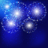 Blue fireworks. Shiny fireworks on the dark blue sky background, illustration Stock Photos