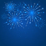 Blue fireworks. Shiny fireworks with stars on blue background, illustration Royalty Free Stock Images