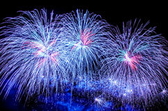 Blue fireworks show Royalty Free Stock Image