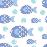 Blue fish. Illustration of seamless pattern of blue fish over blue polka dot background Royalty Free Stock Images