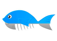 Blue fish. Drawing of a fish cut in half Royalty Free Stock Image