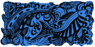 Blue Fish. An underwater scene with fish royalty free illustration
