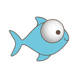 Blue fish with big eyes icon. Illustration design Royalty Free Stock Photos