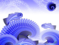 Blue fish are in a blue sea Royalty Free Stock Photography