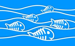 Blue fish bone stickers and waves. Background with cartoon blue fish bone in waves Stock Images