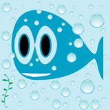 Blue fish cartoon Royalty Free Stock Photography