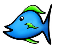 Blue Fish with Green Fins Illustration on White Background. A close up large illustration of a cartoon fish. This fish was hand drawn and then digitally colored Stock Photography